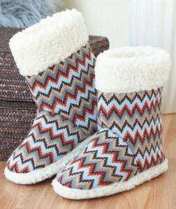 NWT Women's Knit Zigzag Chevron Print Boot Booties Slippers M (7/8) L (9/10)
