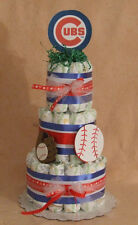 3 Tier Diaper Cake MLB Chicago CUBS Baseball Baby Shower Centerpiece