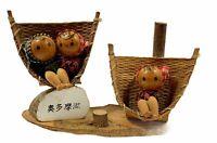 Vintage Mini Miniature KOKESHI Japanese Village Wooden Wood DOLL Figure Art Fig