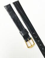 Genuine Teju Lizard Genuine Leather Black Tone 10mm Gold Buckle Watch Band