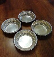 🌈Vintage Silver on Copper Open Salts Salt Cellars Plate Finger Mustard Bowls EC
