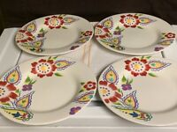 "4-DINNER PLATES ""PRISCILLA made in china TABLETOPS GALLERY EUC"