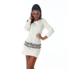 Sexy Long Pullover Strick Longpulli mit tollem Strick Muster Creme Weiß 34 36 38
