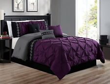 7Pc Queen Size Dark Purple Gray Black Double-Needle Pinch Pleat Comforter Set
