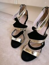 LITTLE MISTRESS FOOTWEAR  BLACK WHITE GOLD STRAP SANDALS UK 4 high heels