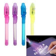 4 pcs Spy Pen Invisible Ink UV Light Magic Secret Messages Party Kids Gift