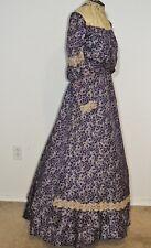 Victorian Purple Cherry Print Silk 3  PC Dress w Lace SM