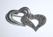 Marsala Sterling Silver Double Valentine Heart Marcasite Brooch Pin 4g
