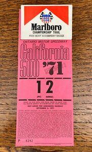1971 MARLBORO CHAMPIONSHIP TRAIL RACING Pinback Badge + Pit Pass CALIFORNIA 500