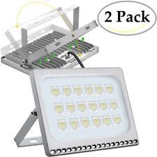 2X 100 Watt Slim High Power LED Flood Light Cool White Indoor Outdoor Fixtures