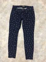 Lucky Brand Women's Blue Dark Wash Geometric Charlie Skinny Jeans Sz 2/26
