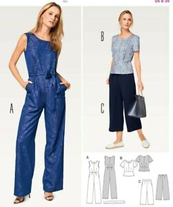 Burda 6516 SEWING PATTERN Misses' Style Coordinates Pant Jumpsuit EASY Size 8-20