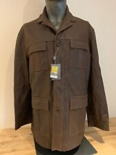 BNWT NEW Mens M&S SP long brown real leather COAT JACKET size large 41-43""