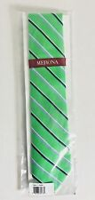Mens Merona Silk Tie Necktie Green Navy Blue Stripe Groomsmen Set NIP New