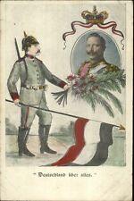 Kaiser Wilhelm - Soldier Uniform Helmet & German Flag UBER ALLES Postcard
