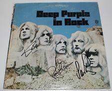 DEEP PURPLE SIGNED AUTHENTIC 'IN ROCK' VINYL RECORD ALBUM LP w/COA X3 PROOF