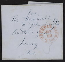 1854 US Stampless folded letter w/red Detroit Mich. 3 Paid pmk to Lansing, MI