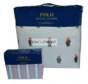 RALPH LAUREN Polo Teddy Bear Boy Red Shirt 7P QUEEN COMFORTER & SHEET SET STRIPE