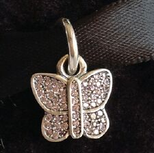 PINK CRYSTAL BUTTERFLY DANGLE Sterling Silver European Charm Bead B2
