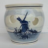 "Delft Windmill Planter Handpainted Holland 4 3/4"" Tall Vintage"