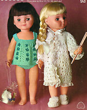 "Dolls clothes knitting pattern.14""-16""-18""doll. Laminated  copy.( V Doll 09)"