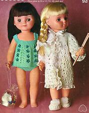"Dolls clothes knitting pattern.14""-16""-18""doll. Laminated  copy.( V Doll 09)"