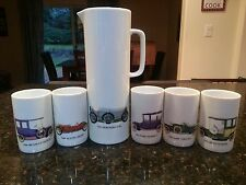 Thomas Germany Car 5 Tumblers Pitcher Renault Austin Mercedes Ford Fiat Benz