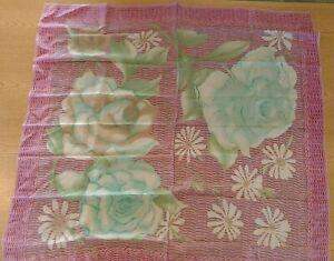 "VERA NEUMANN PrimaVera Collection Silk Scarf Pink Floral 31"" Square Vintage"