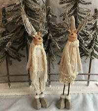 2 x 50cm Reindeer Couple Knitted Clothes Twig Antler Figure Christmas Mantel