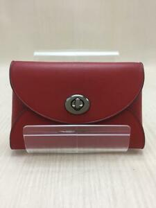 COACH  Leather Red F65675 Lisad Saddle Id Case Leather Red Card case