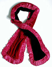 echarpe fantaisie femme velours double face rouge bordeaux noir