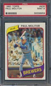 1980 Topps Paul Molitor #406 Milwaukee Brewers HOF PSA 9 MINT