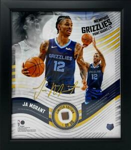 JA MORANT Memphis Grizzlies Framed 15 x 17 Game Used Basketball Collage LE 1/50