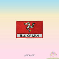 ISLE OF MAN UK County Flag With Name Embroidered Iron On Patch Sew On Badge