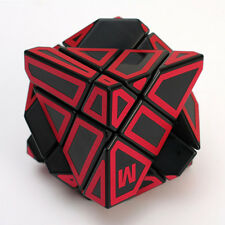 3x3x3 Ghost Irregular Magic Cube Skewb Twist Puzzle Toy Black&Red + Stand Holder
