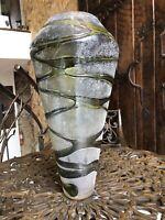 HAND BLOWN ART GLASS VASE LARGE, ARTIST STUDIO, TEXTURED, UNIQUE !!!
