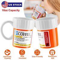 10oz Ceramics Coffee Tea Mug Cup Prescription Pill Mug For Caffeine Lover US