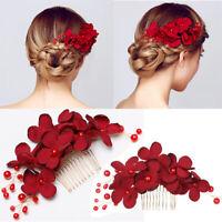 Women Hair Combs Red Flower Hair Pin Bridal Clips Bridesmaid Tiara Hair Jewelry