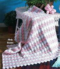 Baby Blanket Afghan Crochet Pattern Pink Roses      126