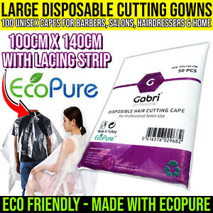100 Large Gabri Eco Single Use Hair Cutting Gowns/Capes 100x140cm Barbers Salons