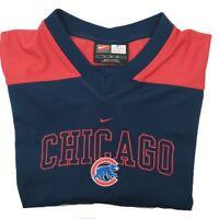 Vintage Nike Men's XL Blue Red Chicago Cubs V Neck Shirt Center Logo Embroidered
