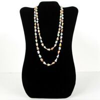 Vintage Beaded Necklace Pastel Gold Tone Links 45 Inch Over the Head Circa 1960s