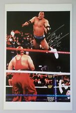 VERY RARE HAND SIGNED THE ROCK 11 X 17 COLOR PHOTO WWF THE ROCK 1998 SIGNING