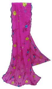 Pink Women's Dupatta Georgette Vintage Chunari Embroidered Women Shawl EMBDP3674