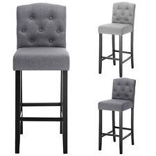 2 Set of Chairs Bar Stools Bar Chairs linen Wood Legs Barstools High Stools