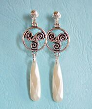 CELTIC KNOT SPIRAL WITH LONG PEARLISED  DROP CLIP ON EARRINGS  (hook options)