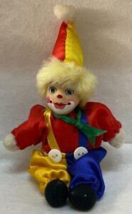 Vintage clown Small doll Hat red Porcelain Face Multi Color Pants buttons