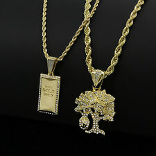 """Mens Gold Plated Hip-Hop Gold Bar Money Tree Pendant 24"""" 30"""" Chain Necklace D752"""