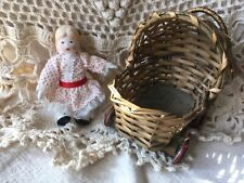 Vintage Doll Carriage Buggy Baby Wicker/Rattan Metal Wheels & Porcelain Doll