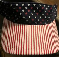 July 4th USA Flag Stars & Striped Visor Cap One Size Hat Patriotic Military New